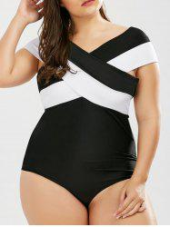 Two Tone Padded One Piece Plus Size Swimsuit