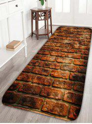 Red Brick Print Flannel Skidproof Water Absorption Rug - BROWN