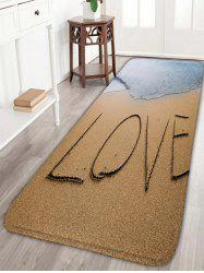 Love Sea Beach Print Flannel Skid Resistant Bathroom Rug