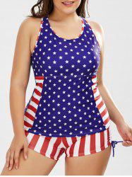 Patriotic American Flag Plus Size Padded Tankini