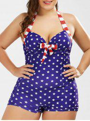 American Flag Print Halter Plus Size One Piece Swimsuit