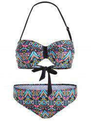 Padded Halter Printed Plus Size Bikini - COLORMIX 2XL
