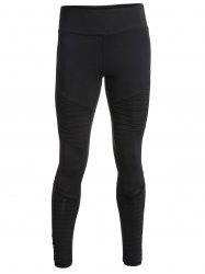 Pleated Skinny Mesh Insert Leggings - BLACK