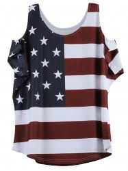 Distressed American Flag Pattern Cold Shoulder T-Shirt - WINE RED XL