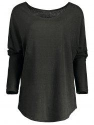 Women's Stylish Scoop Neck Asymmetrical Long Sleeve Sweater - DEEP GRAY
