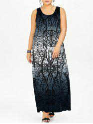 Graphic Ombre Plus Size Shift Maxi Dress