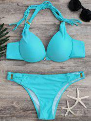 Halter Lace-Up Solid Color Fringe Design Bikini Set - BLUE
