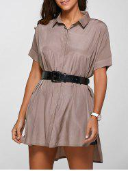 Casual Shirt Neck Half Sleeve High Low Shirt Dress
