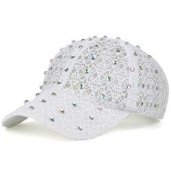 Lace Hollow Out Mesh Hot Drilling Hat - WHITE
