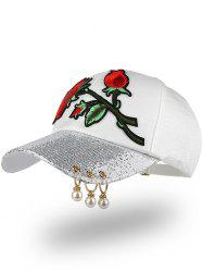 Bespangling Rose Embroidered Faux Pearl Circles Baseball Hat