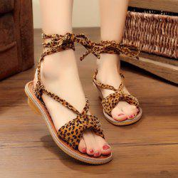 Lace Up Leopard Print Flat Sandals