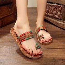 Toe Ring Floral Print Slippers