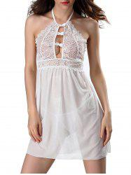 Halter Lace Sheer Babydoll - WHITE