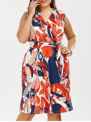 Plus Size Colorful Floral Printed Surplice Dress with Belt