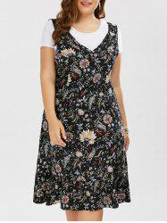 Plus Size Sleeveless V Neck Floral Drop Waist Dress