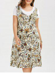 Plus Size Midi Sleeveless V Neck Floral Drop Waist Dress