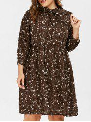 Daisy Floral Pussy Bow Plus Size Shirt Dress