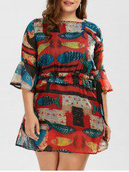 Drawstring A Line Printed Plus Size Dress