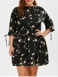 A Line Floral Plus Size Mini Dress