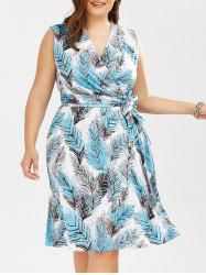 Plus Size Leaf Print Surplice Dress With Belt