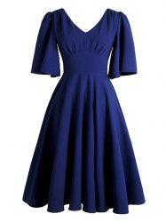 V Neck Swing Vintage Dress - DEEP BLUE S