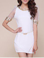 Mesh Trim Fitted Mini Dress with Sequins - WHITE