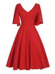 V Neck Swing Vintage Dress - RED 2XL