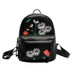 Faux Leather Floral Embroidered Backpack -