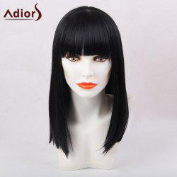Adiors Full Bang Medium Silky Straight Synthetic Wig - BLACK