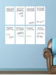 Weekly Schedule White Board 8PCS A4 Wall Stickers with Pen - WHITE
