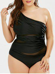 Mesh Panel One Shoulder Plus Size Swimsuit