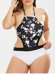 Floral Halter Plus Size One Piece Monokini Swimsuit