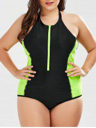 Two Tone Plus Size One Piece Swimsuit