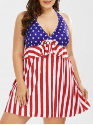 Plus Size Halter American Flag One Piece Patriotic Swimwear