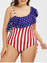 Skew American Flag Plus Size One Piece Ruffle Patriotic Swimwear - US FLAG XL