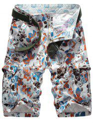 Floral Pattern Zip Fly Cargo Shorts