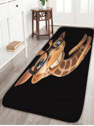 Cartoon Giraffe with Glasses Print Flannel Skidproof Bath Mat
