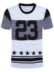 Number and Star Print Short Sleeve T-Shirt