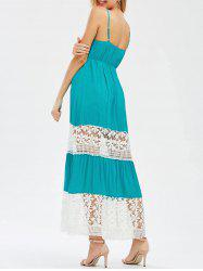 Cutwork Crochet Insert Two Tone Dress