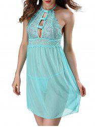 Halter Lace Sheer Babydoll - LIGHT BLUE