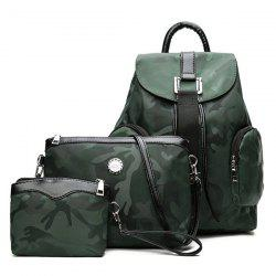 Drawstring Camo Pattern Backpack Set - GREEN