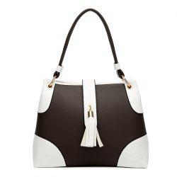 Color Block PU Leather Tassel Totes - WHITE