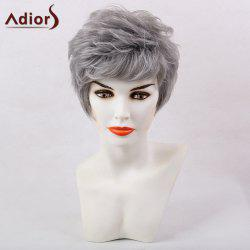 Adiors Short Oblique Bang Layered Shaggy Natural Straight Synthetic Wig