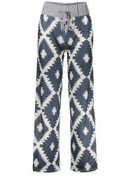 Geometric Print Drawstring Wide Leg Pants - PURPLISH BLUE S