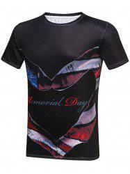Heart Gesture Print Americal Day Graphic T-Shirt