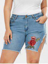 Plus Size Embroidered Frayed Denim Shorts - DENIM BLUE