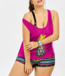 Padded Bra Pineapple Print Plus Size Bathing Suit