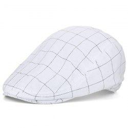 Outdoor Plaid Retro Newsboy Hat - WHITE