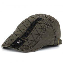 Rhombic Plaid Letters Embroidered Flat Hat