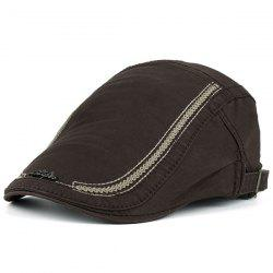 Stripe Embroidered Metal Letters Embellished Newsboy Hat - COFFEE